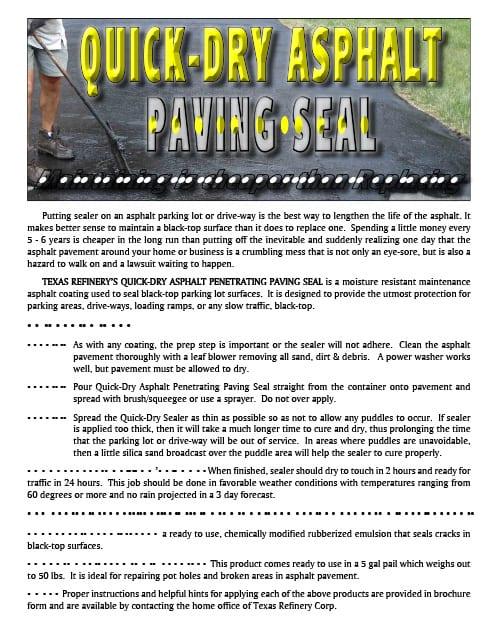 Quick-Dry Asphalt Paving Seal